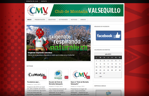 "Post thumbnail of DISEÑO – Web ""Club de Montaña Valsequillo"""